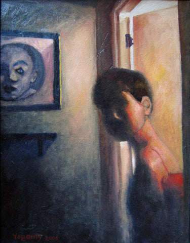 Dark painting of a the upper body of a woman with shadowy face looking through a doorway with a portrait on the wall
