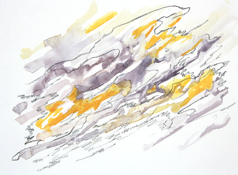 Abstract watercolor painting with washes of yellow and gray, with dark pencil scribble overlay