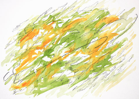 Abstract watercolor painting with washes of yellows, on a white background with dark pencil scribble overlay