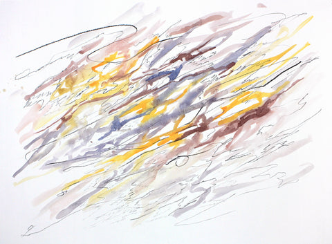 Abstract watercolor painting with washes of yellows and grays, on a white background with dark pencil scribble overlay