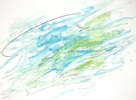 Abstract watercolor painting with washes of yellows, blues, and greens, on a white background with dark pencil scribble overlay