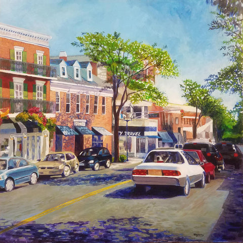 Painting of a small city street with shops, parked cars, and stopped at a light on a sunny day