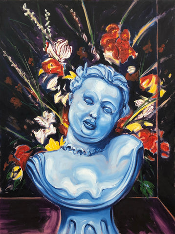 Painting of a bust in shades of blue in front of flowers on a dark background