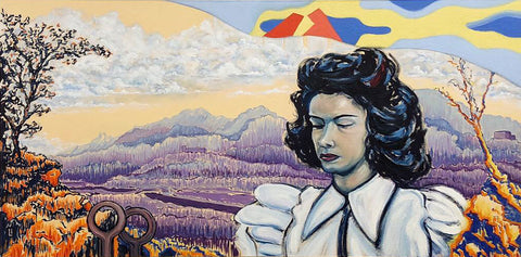 Painting of a young woman with dark hair and a white blouse in front of a colorful landscape with mountains