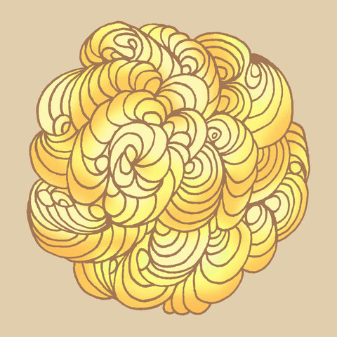 Print of a ball of yellow swirls on a plain beige background