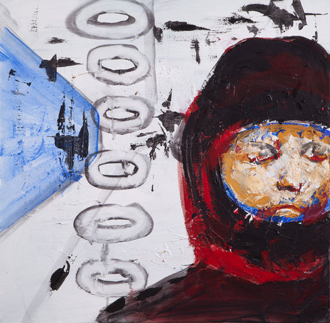 Painting of a close-up a person in protective head gear on a white background with drawings and a blue cone