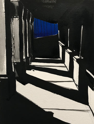 Black and white ink drawing of shadowy corridor with blue in the distance