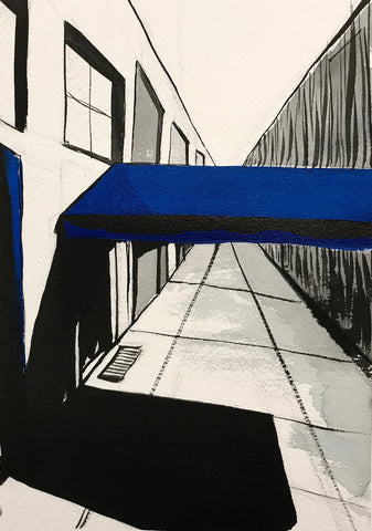 Painting with black washes on white facing down a sidewalk and building on left with blue awning over door
