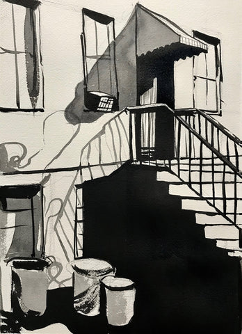 Black and white ink drawing of stoop