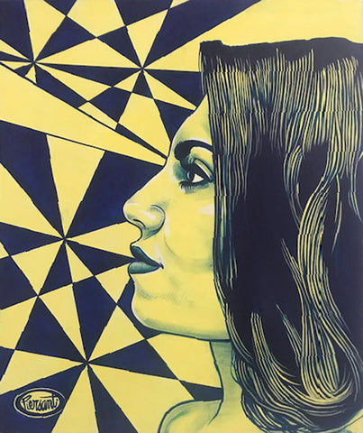Painting mostly in yellows of a profile of a woman's face with a geometric background