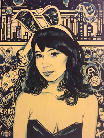 Painting mostly in yellows of a portrait of a woman in cosplay with bunny ears with vintage comic book superheroes in the background like wonder woman, captain america, and cyclops from the x-men