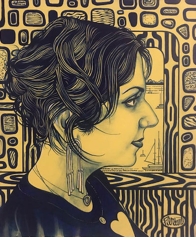 Painting mostly in yellows of a profile of a woman's face with a vintage patterened background