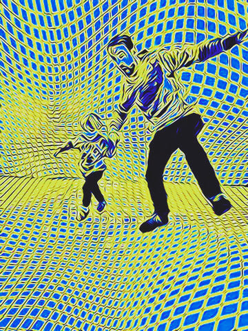 Man dancing with child in wavy geometric room of blues and yellows