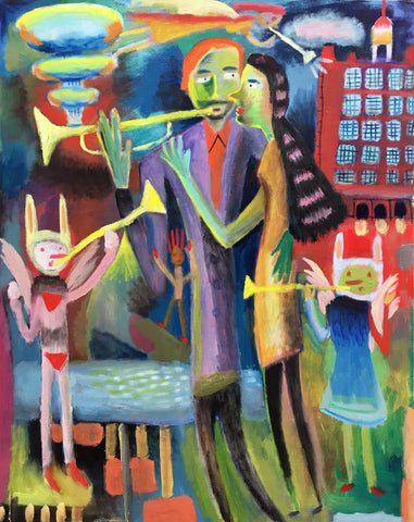 Colorful painting of man and woman and winged children playing bugles with explosions in background