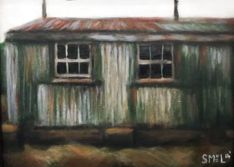 Painting in neutral palette of an old building