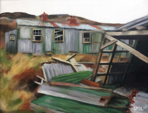 Painting in neutral palette of old damaged buildings in field