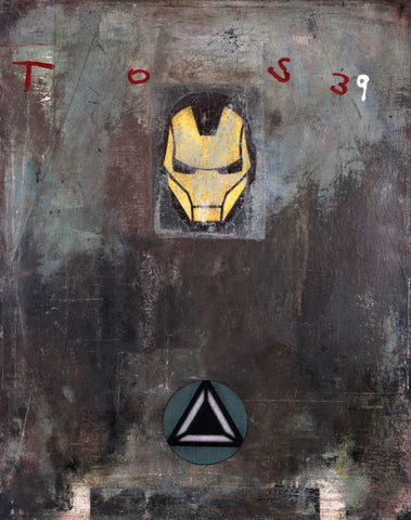 "Mostly gray abstract painting with ""TOS39"" written and imagery of Marvel's superhero Iron Man"