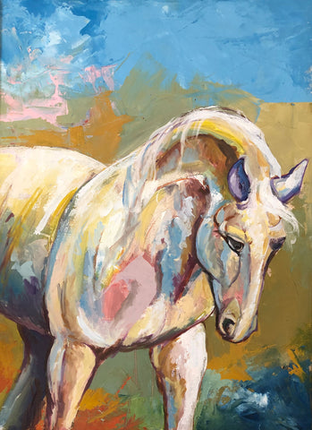 Painting of a white horse on a colorful background