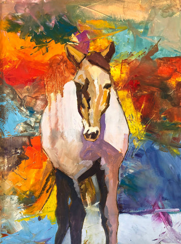 Painting of a brown horse facing forward with vibrant impressionistic background