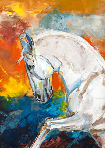 Painting of the side view of a close-up of a white horse on vibrant impressionistic background
