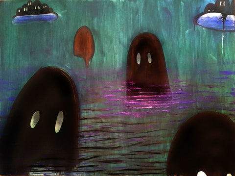 Painting of dark ghosts floating in water at night in dark blues and greens