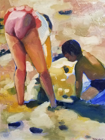 Colorful painting of a boy and a girl playing in the sand at the beach