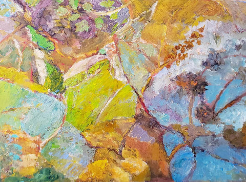 Painting of close-up of pastelly flowers and leaves in an impressionistic manner with bright greens and powder blues