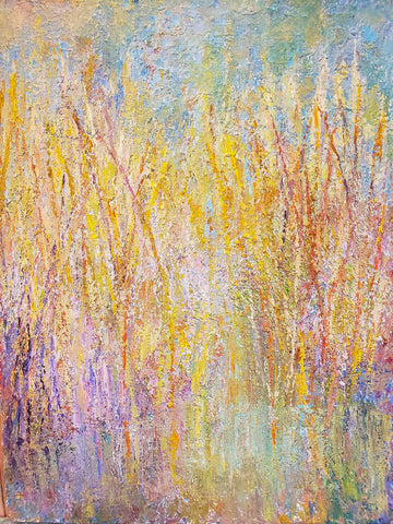 Colorful painting with monet-like grasses in pastelly colors