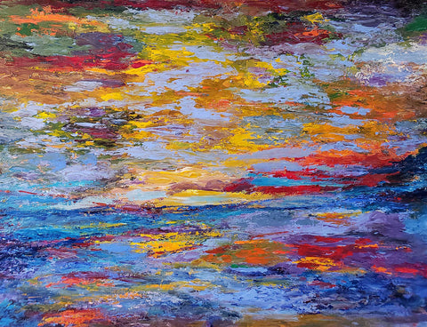 Painting of the surface of water reflecting the blue sky with orange and red floating atop