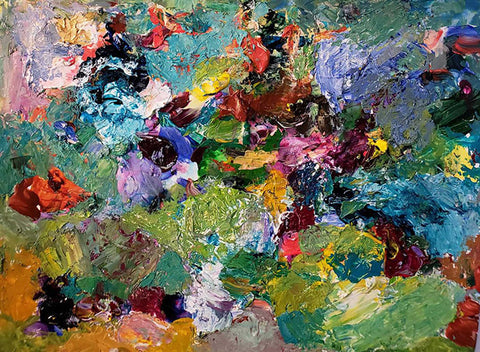 Abstract/Impressionistic painting with various colors of paint in heavy application