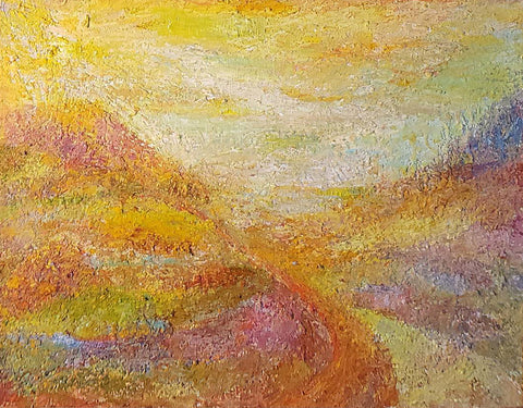Impressionistic painting of a road leading into the mountains all in warm colors with yellow sky, and orangey landscape