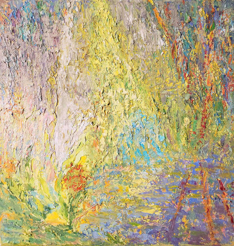 Impressionistic painting of falls and wall in many colors