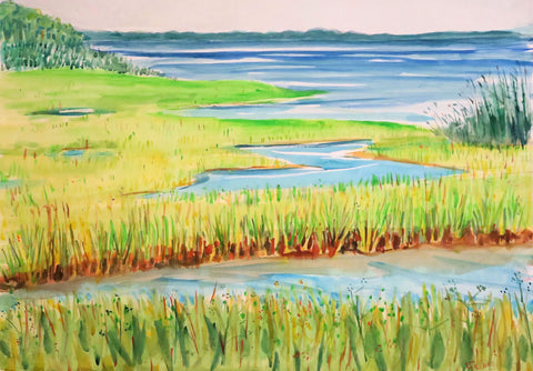 Painting of grassy marshes and water in predominantly greens of grasses and blues of water and sky