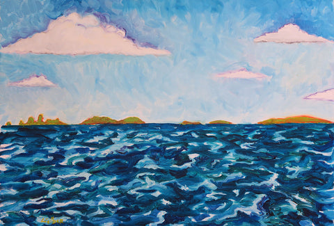 Painting of ocean and sky with a few clouds mostly in blues