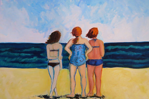 Painting of three woman's backs facing the ocean on the beach