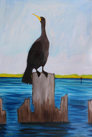 Painting of a cormorant on a pier post in the water