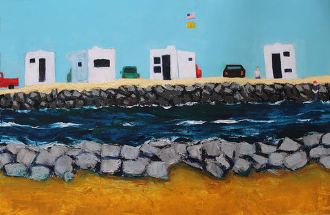 Painting of vehicles and white structures across a rocky canal of water