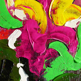 Detail of abstract painting with thick broad strokes of greens, pinks, reds, whites, and blacks