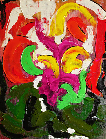 Abstract painting with thick broad strokes of greens, pinks, reds, whites, and blacks