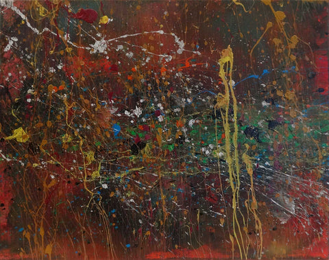 Abstract painting with spatters of different colors on dark warm background