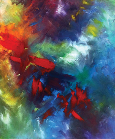 Abstract painting with primary colors in bold soft brushtrokes