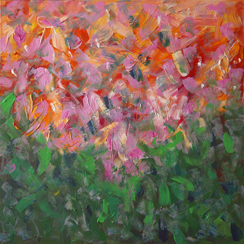 Abstract painting with consistent brushstrokes of pinks falling into greens