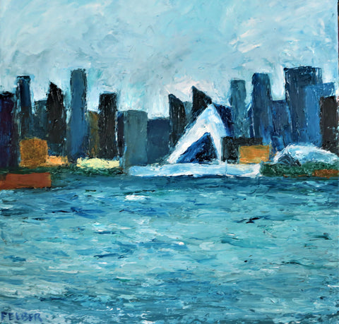Painting of mostly blues of city buildings across a river