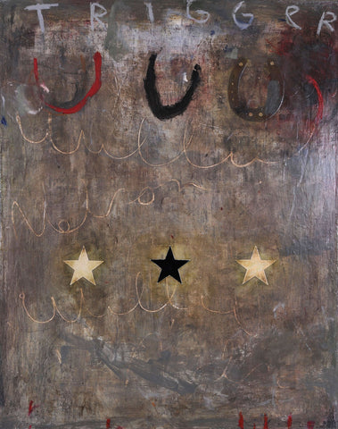 Abstract painting in mostly grays with three horseshoes and three stars