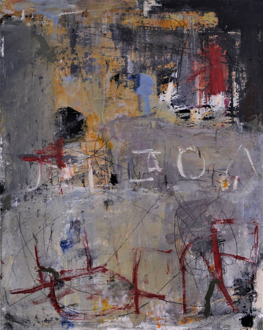 Abstract painting in mostly grays with random letters scrawled