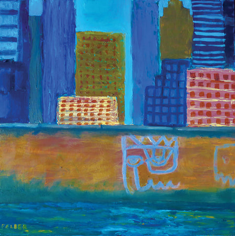 Painting of a close-up of buildings near the river in bold blues in a simplistic style with graffiti on edge