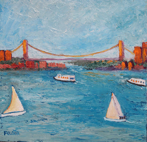 Painting of boats in the Hudson River looking up toward the George Washington Bridge in painterly style