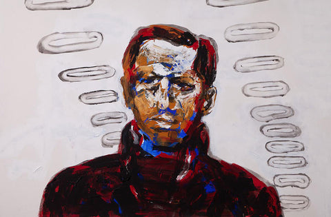 Painting in colorfully broad brushstrokes of a portrait of a man looking forward on white background with halo pattern