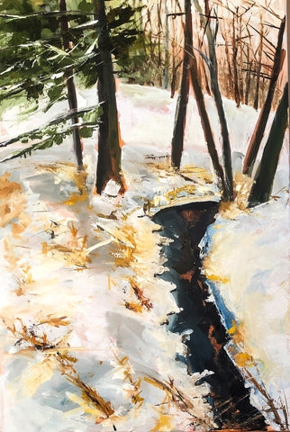 Painting of a stream in a snow filled forest with whites, dark blues, and browns and greens