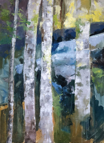 Colorful painting of a close-up of four birch trees in a forest with warm tones dancing around the cooler tones of the tree trunks and snow